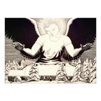 Paz del halo del ángel en invierno religioso de la invitacion personal