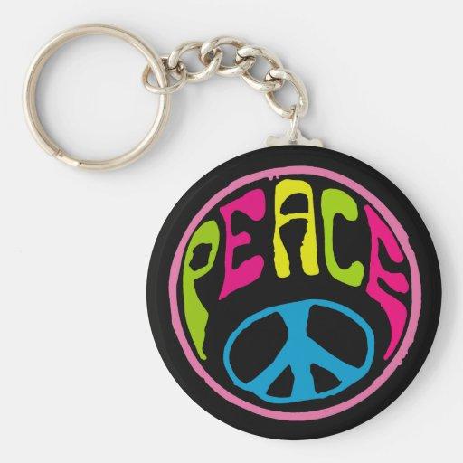 Paz del Hippie, psicodélica Llavero
