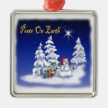 Paz del hombre de la nieve del ornamento en la tie adorno para reyes