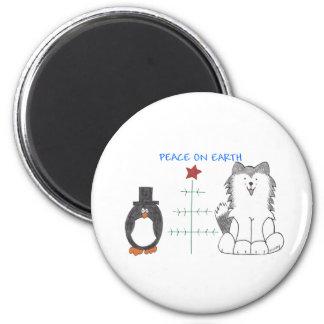 Paz del husky siberiano en la tierra imán redondo 5 cm