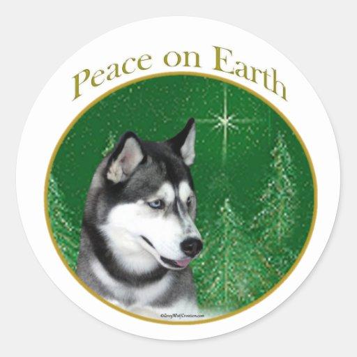 Paz del husky siberiano (negro) pegatina redonda