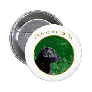 Paz del labrador retriever (negro) pin redondo de 2 pulgadas