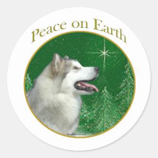 Paz del Malamute de Alaska Pegatina Redonda