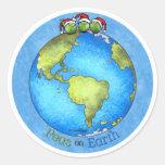 Paz del navidad en la tierra etiquetas redondas