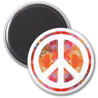 Paz del teñido anudado imán redondo 5 cm