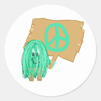 Paz del verde de mar pegatina redonda