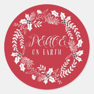 Paz el día de fiesta de la guirnalda de la tierra pegatina redonda