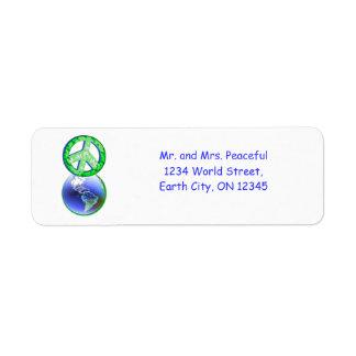 Paz el Día de la Tierra Etiquetas De Remite