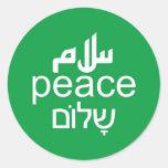 Paz en 3 idiomas pegatina redonda