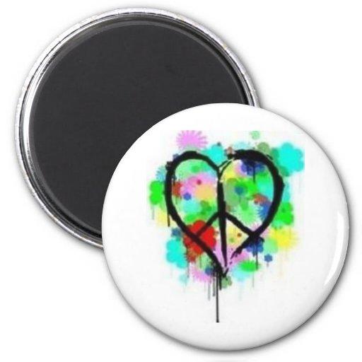 Paz en amor imán redondo 5 cm