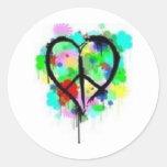 Paz en amor pegatina redonda