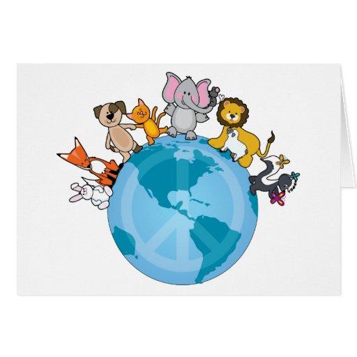 Paz en animales de la tierra tarjetas