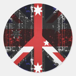 Paz en Australia Pegatina Redonda