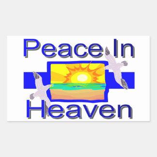 Paz en cielo pegatina rectangular