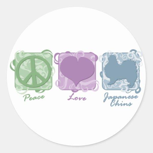 Paz en colores pastel, amor, y barbillas japonesas etiquetas redondas