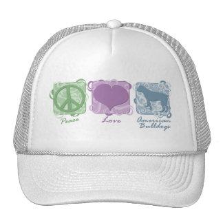 Paz en colores pastel, amor, y dogos americanos gorros