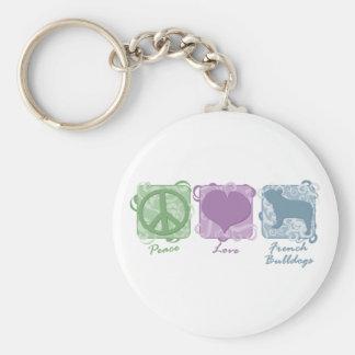 Paz en colores pastel, amor, y dogos franceses llavero personalizado