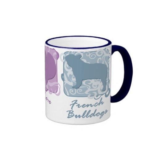 Paz en colores pastel, amor, y dogos franceses taza de café