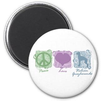 Paz en colores pastel, amor, y galgos italianos imán redondo 5 cm
