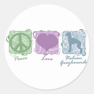 Paz en colores pastel, amor, y galgos italianos pegatina redonda