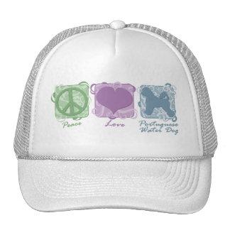 Paz en colores pastel, amor, y perros de agua port gorras