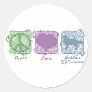 Paz en colores pastel amor y perros perdigueros etiquetas