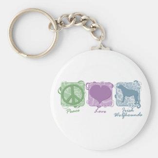 Paz en colores pastel, amor, y Wolfhounds irlandes Llavero Redondo Tipo Pin