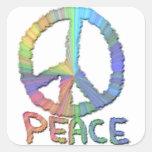 Paz en colores pastel calcomanías cuadradas