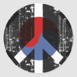 Paz en Corea del Sur Etiquetas Redondas