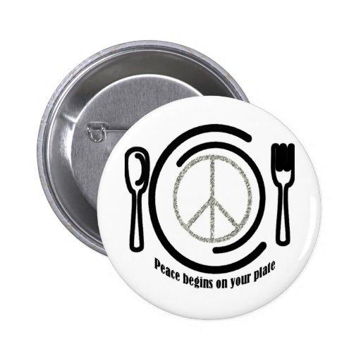Paz en el botón de la placa pin