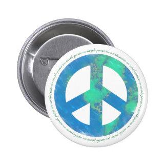 Paz en el botón de la tierra pin redondo de 2 pulgadas