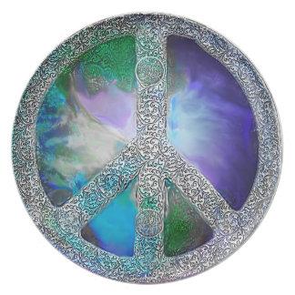 Paz en el ~ de la tierra escrito en piedra platos de comidas