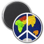 Paz en el imán del botón de la tierra
