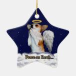 Paz en el ornamento de la estrella del ángel de Do Ornato