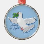 Paz en el ornamento de la paloma de la tierra adorno de navidad