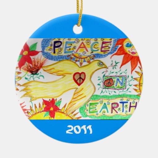 Paz en el ornamento de la paloma de la tierra ornamento de navidad