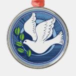 Paz en el ornamento de la paloma de la tierra ornaments para arbol de navidad