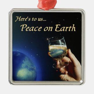 Paz en el ornamento de la tierra adorno navideño cuadrado de metal
