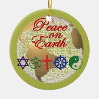 Paz en el ornamento de la tierra ornaments para arbol de navidad