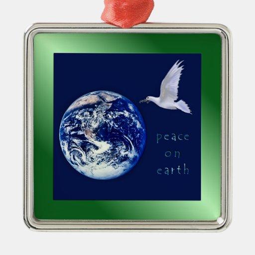 Paz en el ornamento del cuadrado de la tierra ornamento de navidad