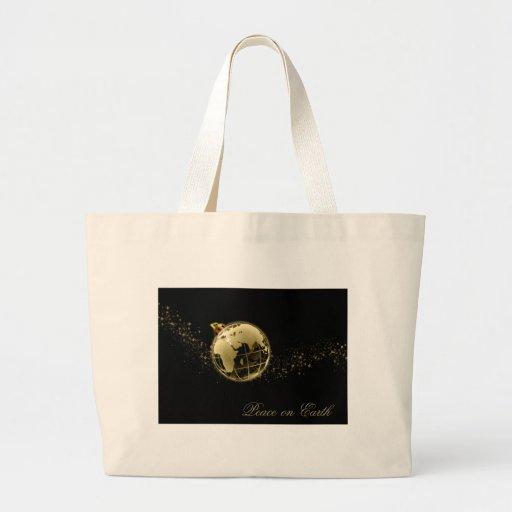 Paz en el oro de la tierra en negro bolsa tela grande
