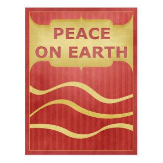 Paz en el oro rojo de la tierra elegante tarjetas postales