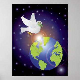 Paz en el poster de la paloma de la tierra