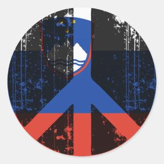 Paz en Eslovenia Pegatina Redonda