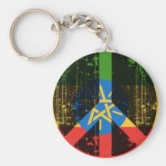 Paz en Etiopía Llavero Redondo Tipo Pin