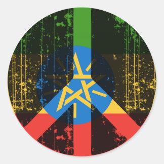Paz en Etiopía Pegatina Redonda