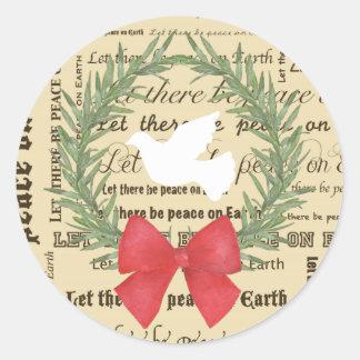 Paz en la paloma de la tierra, hojas de la pegatina redonda