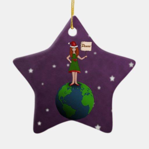 Paz en la tierra adorno navideño de cerámica en forma de estrella