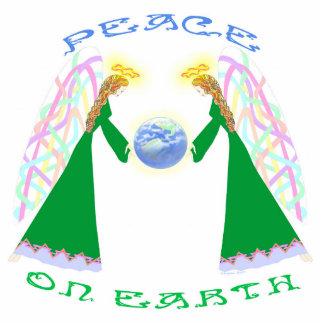 Paz en la tierra - ángeles sobre escultura de la fotoescultura vertical