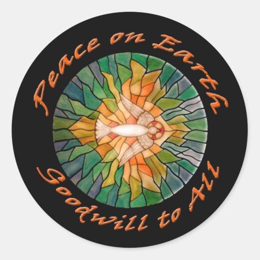 Paz en la tierra con las tarjetas del diseño del pegatina redonda